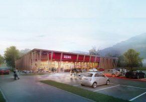 Breites Angebot am Oberen Tor: Das neue Nahversorgungszentrum ist nun fertiggestellt. (Visualisierung REWE: RKW+)